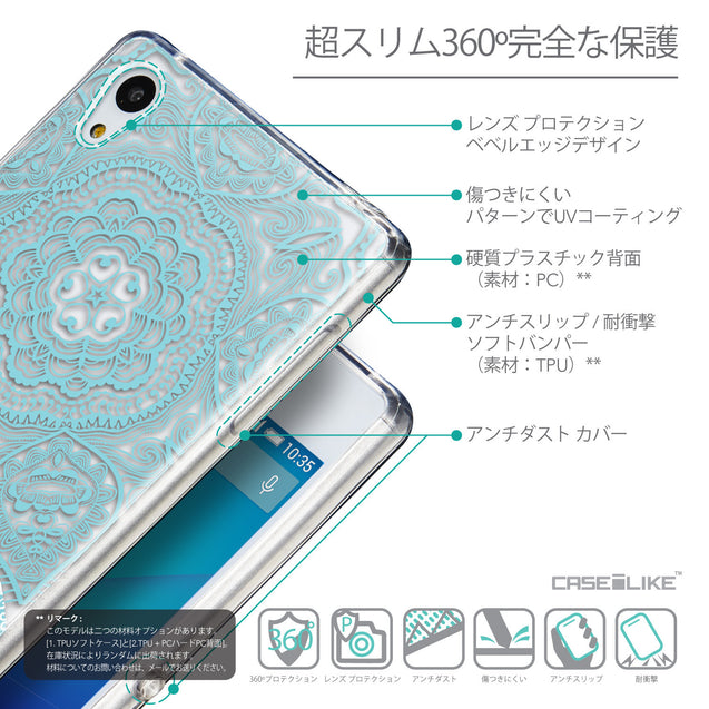 Details in Japanese - CASEiLIKE Sony Xperia Z3 Plus back cover Mandala Art 2306