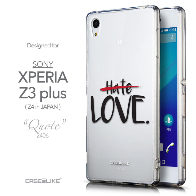 Front & Side View - CASEiLIKE Sony Xperia Z3 Plus back cover Quote 2406