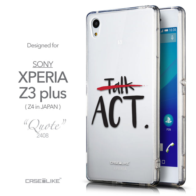 Front & Side View - CASEiLIKE Sony Xperia Z3 Plus back cover Quote 2408