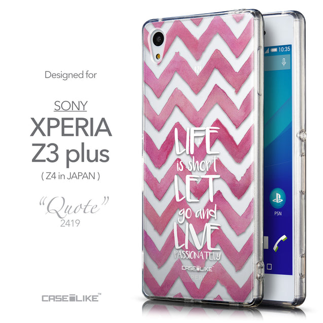 Front & Side View - CASEiLIKE Sony Xperia Z3 Plus back cover Quote 2419