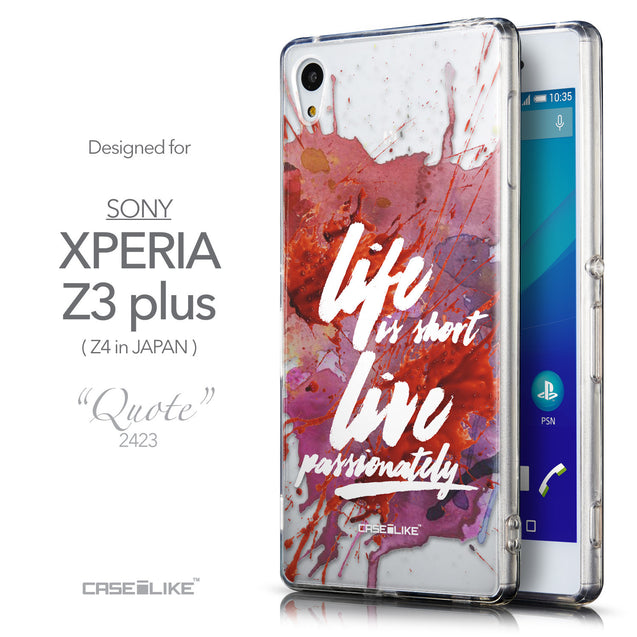 Front & Side View - CASEiLIKE Sony Xperia Z3 Plus back cover Quote 2423