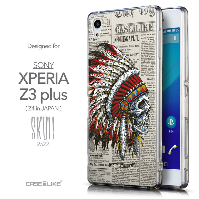 Front & Side View - CASEiLIKE Sony Xperia Z3 Plus back cover Art of Skull 2522