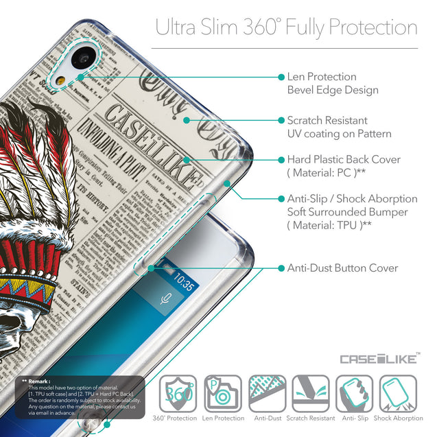 Details in English - CASEiLIKE Sony Xperia Z3 Plus back cover Art of Skull 2522