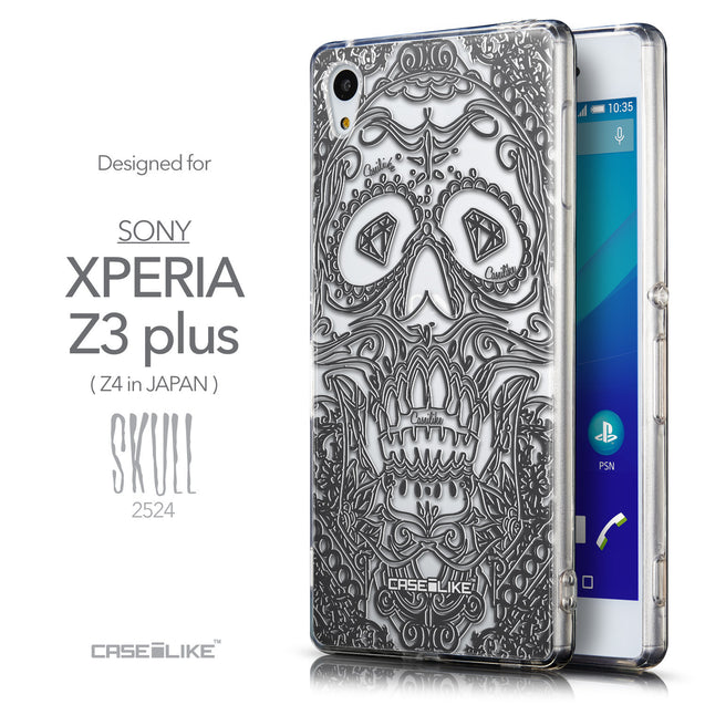 Front & Side View - CASEiLIKE Sony Xperia Z3 Plus back cover Art of Skull 2524