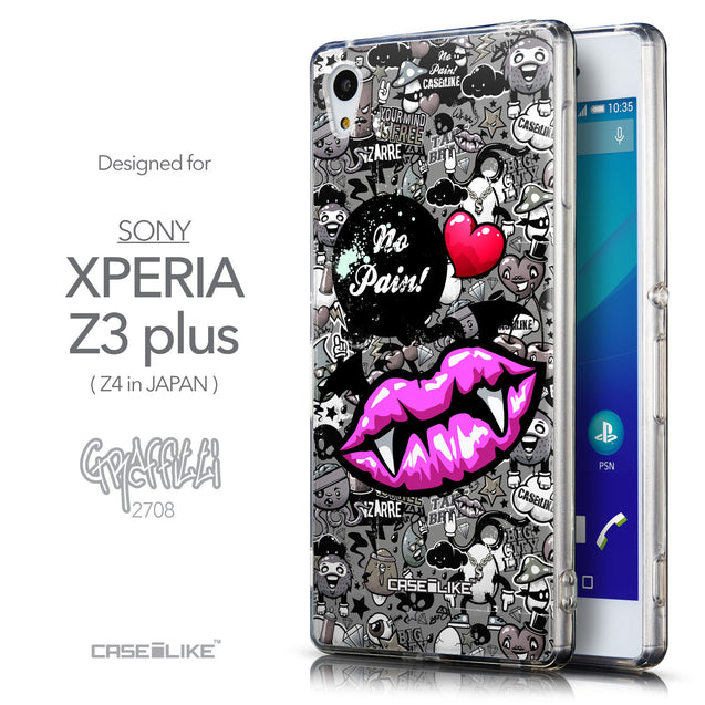 Front & Side View - CASEiLIKE Sony Xperia Z3 Plus back cover Graffiti 2708