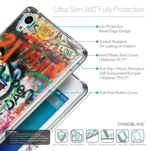 Details in English - CASEiLIKE Sony Xperia Z3 Plus back cover Graffiti 2721
