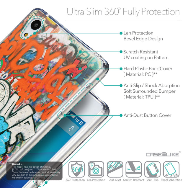 Details in English - CASEiLIKE Sony Xperia Z3 Plus back cover Graffiti 2722