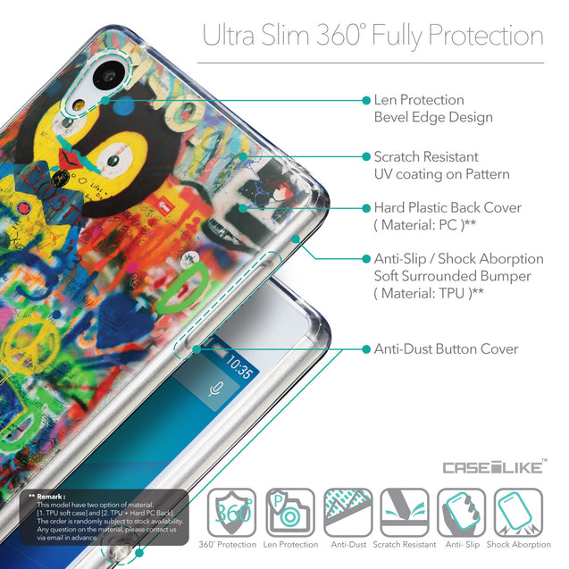Details in English - CASEiLIKE Sony Xperia Z3 Plus back cover Graffiti 2723