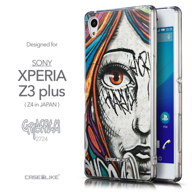 Front & Side View - CASEiLIKE Sony Xperia Z3 Plus back cover Graffiti Girl 2724