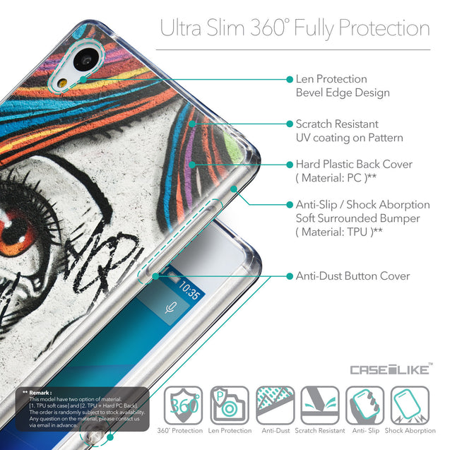 Details in English - CASEiLIKE Sony Xperia Z3 Plus back cover Graffiti Girl 2724