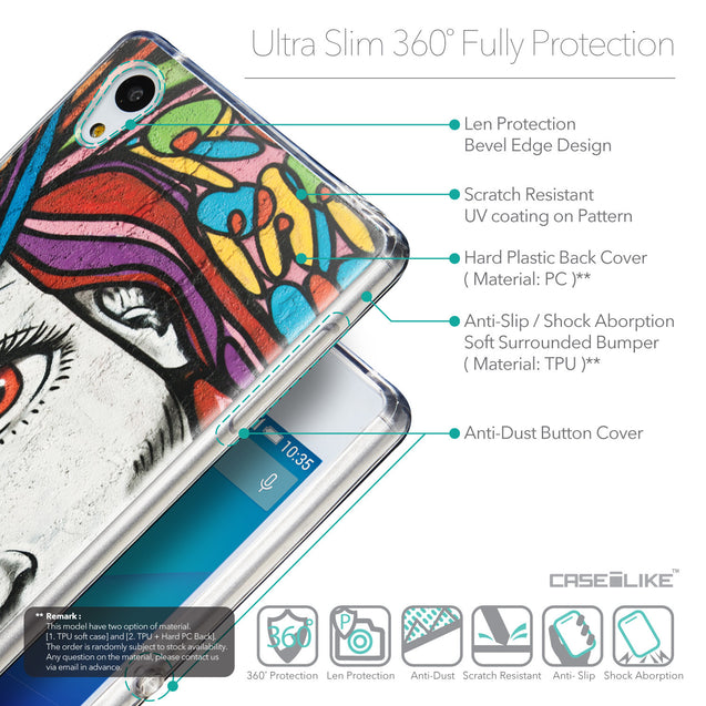 Details in English - CASEiLIKE Sony Xperia Z3 Plus back cover Graffiti Girl 2725