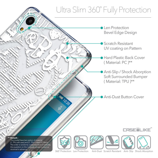 Details in English - CASEiLIKE Sony Xperia Z3 Plus back cover Graffiti 2730