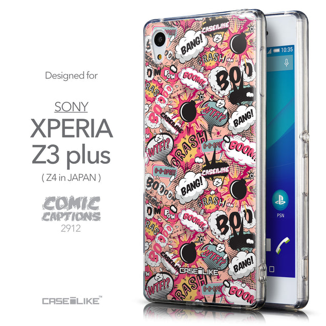 Front & Side View - CASEiLIKE Sony Xperia Z3 Plus back cover Comic Captions Pink 2912