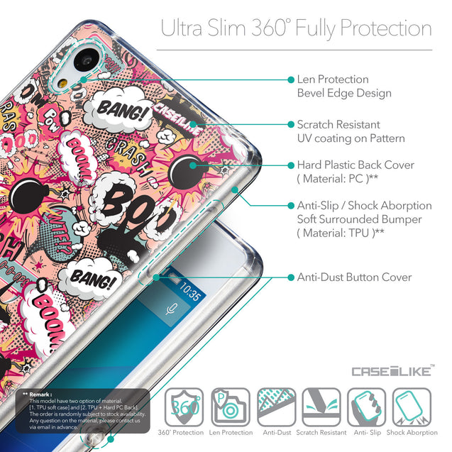Details in English - CASEiLIKE Sony Xperia Z3 Plus back cover Comic Captions Pink 2912