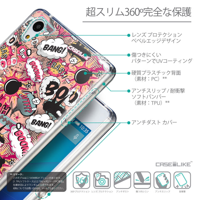 Details in Japanese - CASEiLIKE Sony Xperia Z3 Plus back cover Comic Captions Pink 2912
