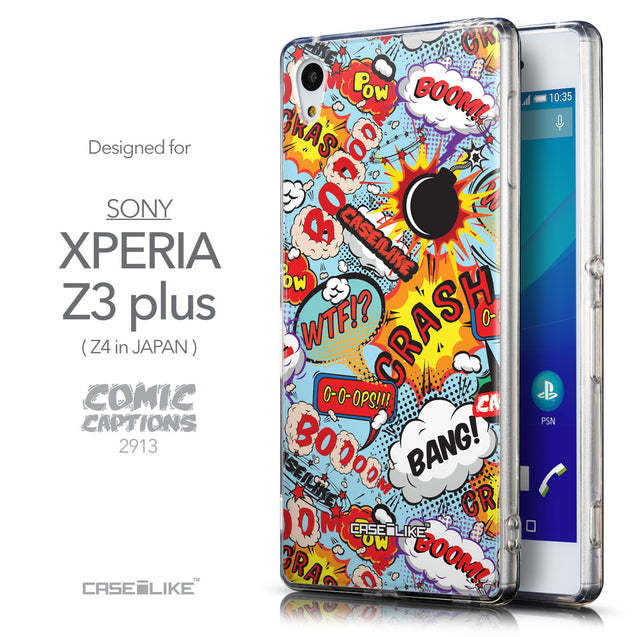 Front & Side View - CASEiLIKE Sony Xperia Z3 Plus back cover Comic Captions Blue 2913
