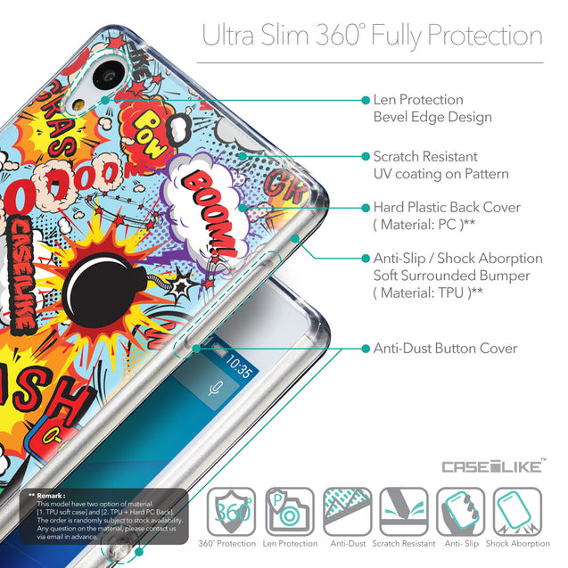 Details in English - CASEiLIKE Sony Xperia Z3 Plus back cover Comic Captions Blue 2913