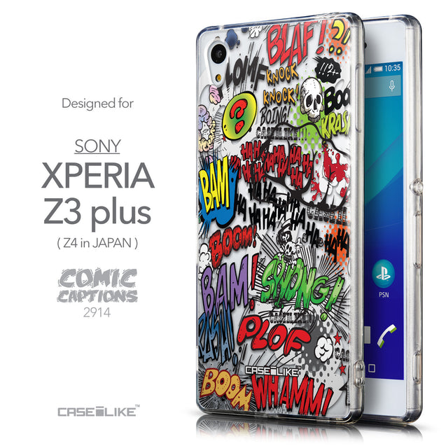 Front & Side View - CASEiLIKE Sony Xperia Z3 Plus back cover Comic Captions 2914