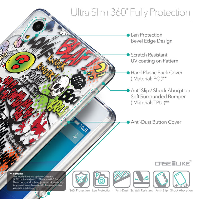 Details in English - CASEiLIKE Sony Xperia Z3 Plus back cover Comic Captions 2914