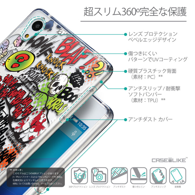 Details in Japanese - CASEiLIKE Sony Xperia Z3 Plus back cover Comic Captions 2914