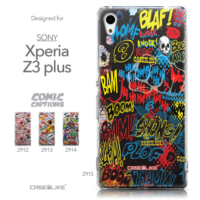 Collection - CASEiLIKE Sony Xperia Z3 Plus back cover Comic Captions Black 2915