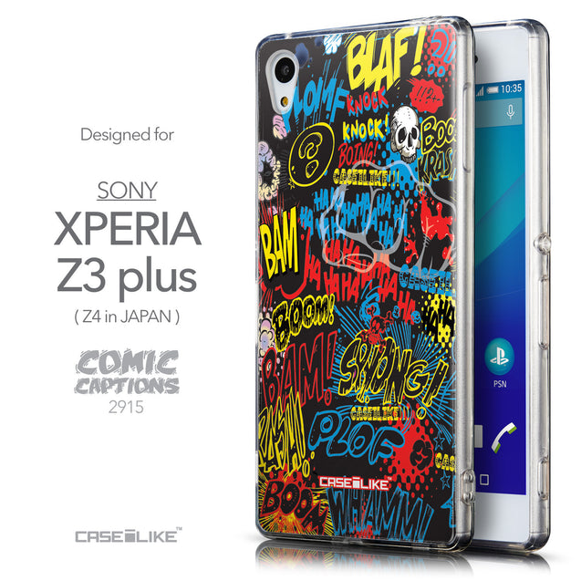 Front & Side View - CASEiLIKE Sony Xperia Z3 Plus back cover Comic Captions Black 2915