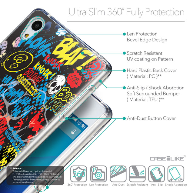 Details in English - CASEiLIKE Sony Xperia Z3 Plus back cover Comic Captions Black 2915