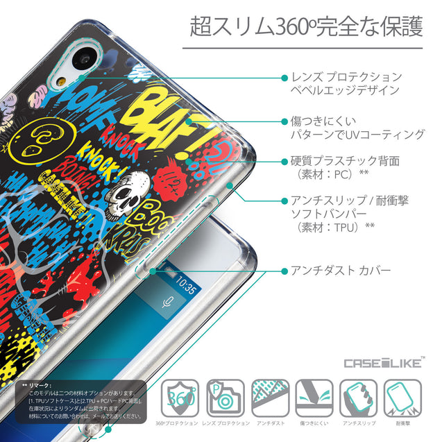 Details in Japanese - CASEiLIKE Sony Xperia Z3 Plus back cover Comic Captions Black 2915
