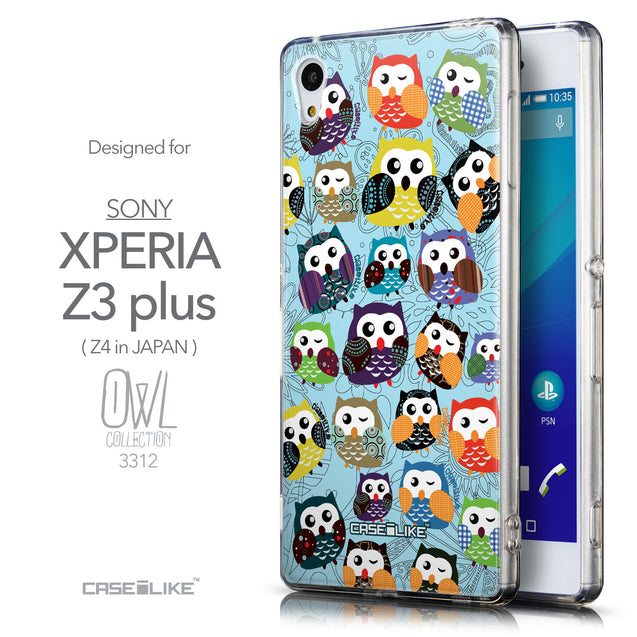 Front & Side View - CASEiLIKE Sony Xperia Z3 Plus back cover Owl Graphic Design 3312