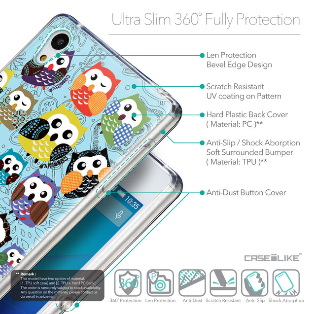 Details in English - CASEiLIKE Sony Xperia Z3 Plus back cover Owl Graphic Design 3312