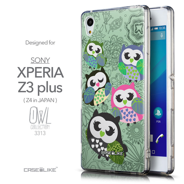 Front & Side View - CASEiLIKE Sony Xperia Z3 Plus back cover Owl Graphic Design 3313