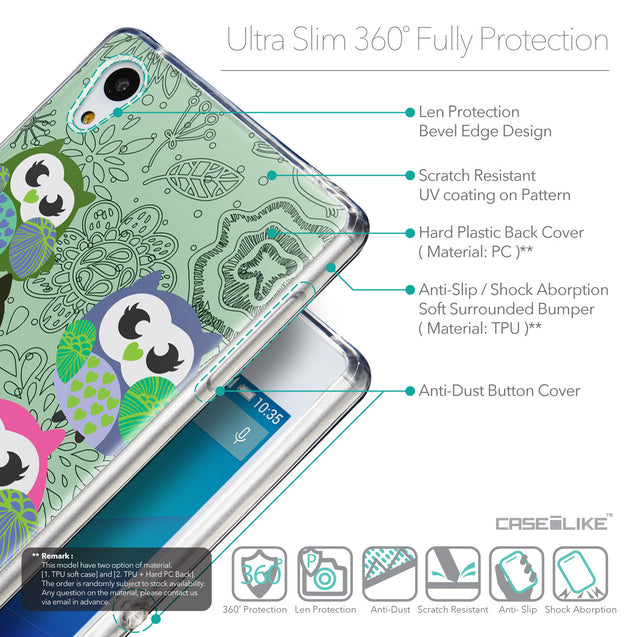 Details in English - CASEiLIKE Sony Xperia Z3 Plus back cover Owl Graphic Design 3313