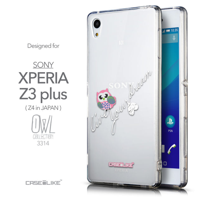 Front & Side View - CASEiLIKE Sony Xperia Z3 Plus back cover Owl Graphic Design 3314