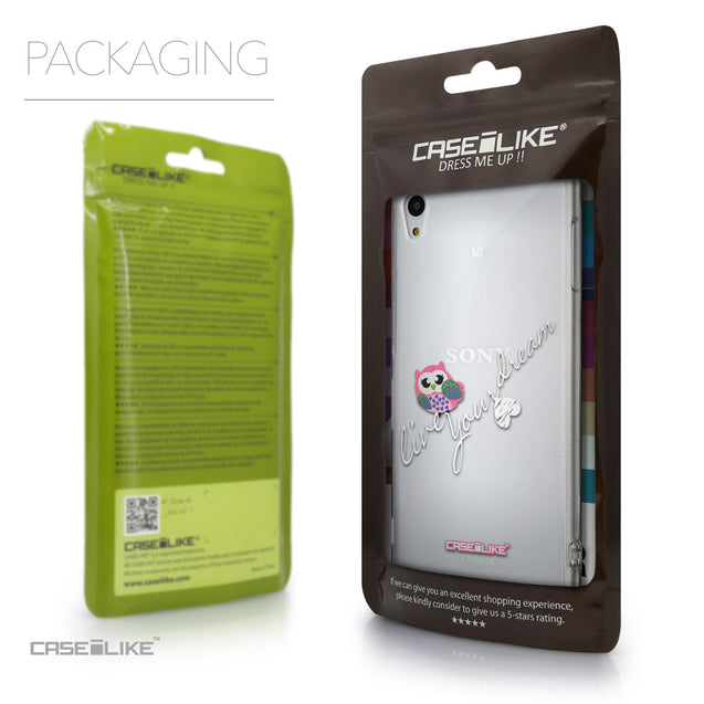 Packaging - CASEiLIKE Sony Xperia Z3 Plus back cover Owl Graphic Design 3314