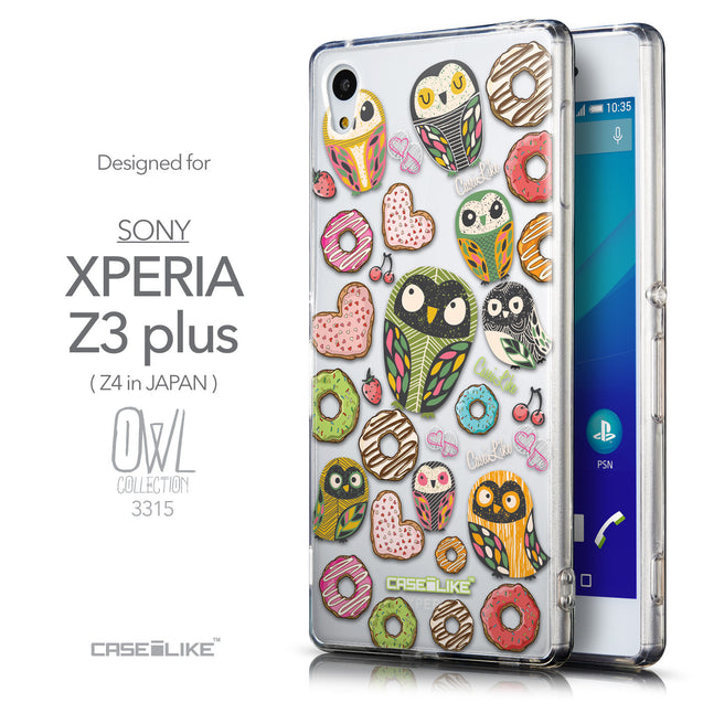 Front & Side View - CASEiLIKE Sony Xperia Z3 Plus back cover Owl Graphic Design 3315