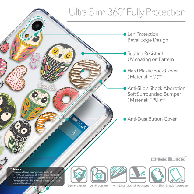 Details in English - CASEiLIKE Sony Xperia Z3 Plus back cover Owl Graphic Design 3315
