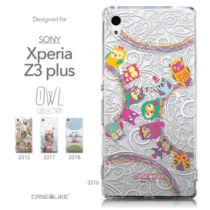 Collection - CASEiLIKE Sony Xperia Z3 Plus back cover Owl Graphic Design 3316