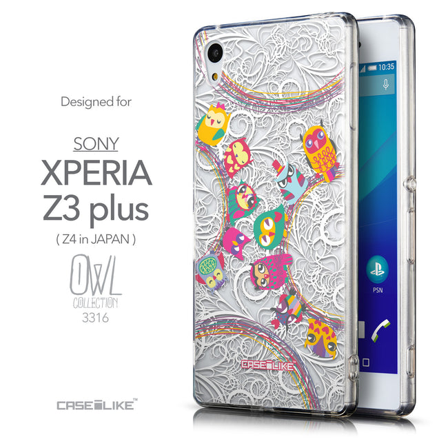 Front & Side View - CASEiLIKE Sony Xperia Z3 Plus back cover Owl Graphic Design 3316