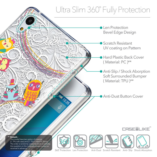 Details in English - CASEiLIKE Sony Xperia Z3 Plus back cover Owl Graphic Design 3316