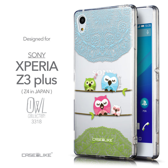 Front & Side View - CASEiLIKE Sony Xperia Z3 Plus back cover Owl Graphic Design 3318