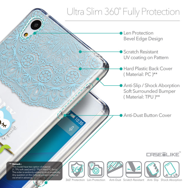 Details in English - CASEiLIKE Sony Xperia Z3 Plus back cover Owl Graphic Design 3318