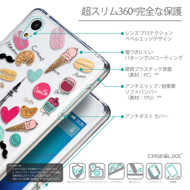 Details in Japanese - CASEiLIKE Sony Xperia Z3 Plus back cover Paris Holiday 3904