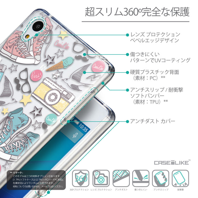 Details in Japanese - CASEiLIKE Sony Xperia Z3 Plus back cover Paris Holiday 3906