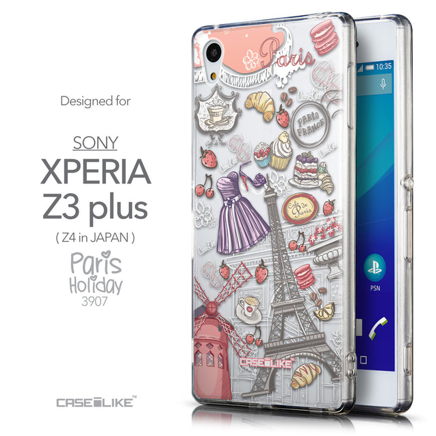 Front & Side View - CASEiLIKE Sony Xperia Z3 Plus back cover Paris Holiday 3907