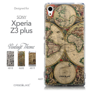 Collection - CASEiLIKE Sony Xperia Z3 Plus back cover World Map Vintage 4607