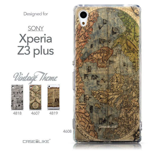 Collection - CASEiLIKE Sony Xperia Z3 Plus back cover World Map Vintage 4608