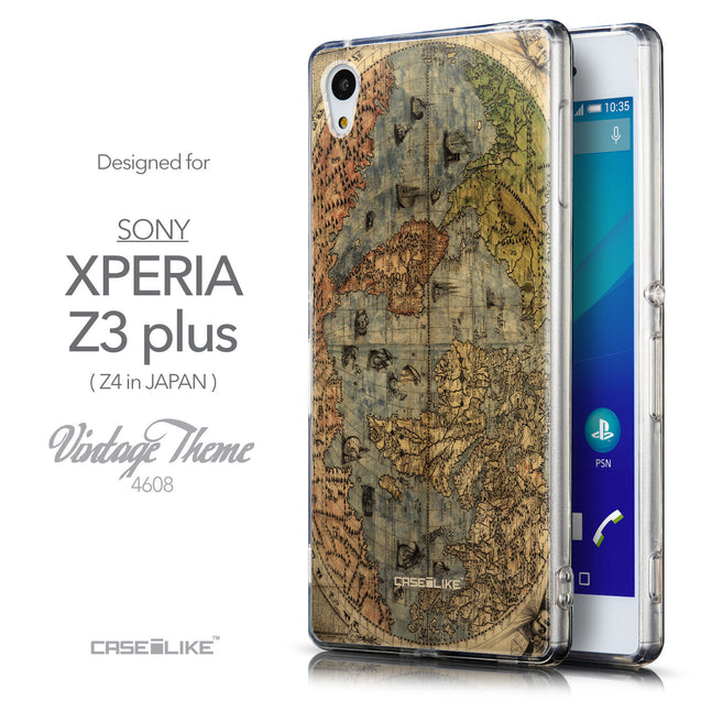 Front & Side View - CASEiLIKE Sony Xperia Z3 Plus back cover World Map Vintage 4608