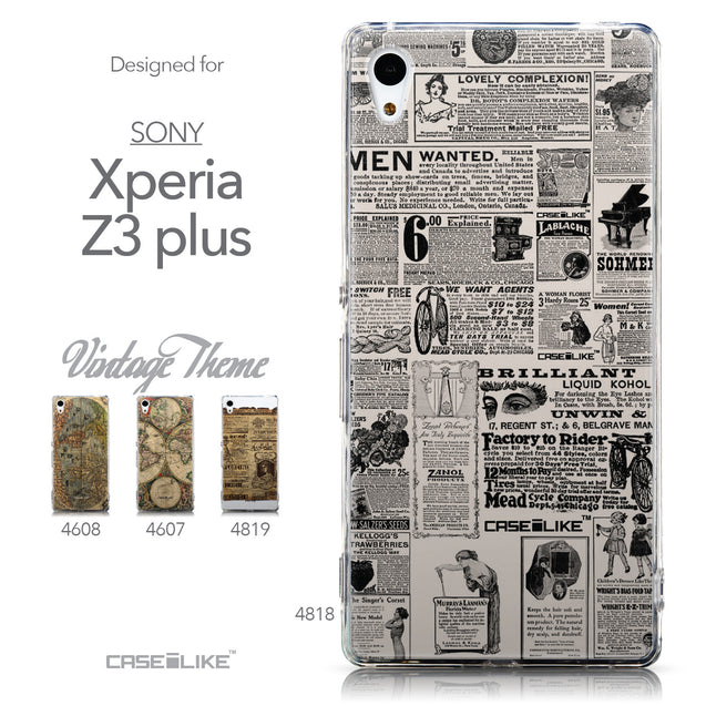 Collection - CASEiLIKE Sony Xperia Z3 Plus back cover Vintage Newspaper Advertising 4818