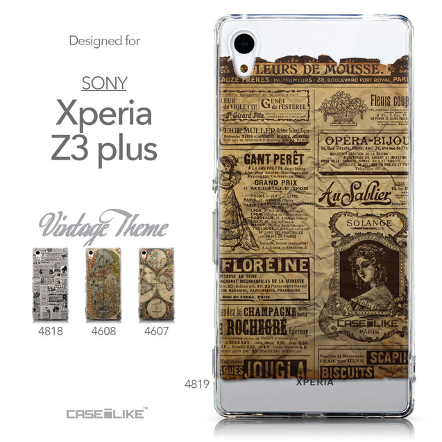 Collection - CASEiLIKE Sony Xperia Z3 Plus back cover Vintage Newspaper Advertising 4819