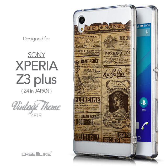 Front & Side View - CASEiLIKE Sony Xperia Z3 Plus back cover Vintage Newspaper Advertising 4819